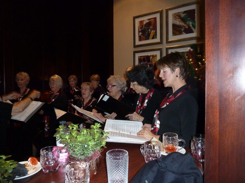 Fairfax Singers singing Carols at the Marriott Hotel Leeds